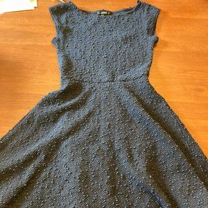 Forever 21 Navy Blue Textured Fit & Flare Dress